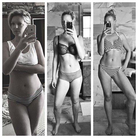 39-летняя Кэтрин Хейгл показала, как сильно похудела после родов