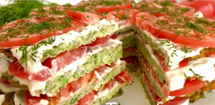 Кабачковый торт с помидорами и сыром!